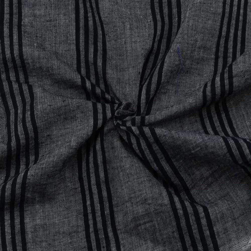 STRIPE BLACK & GREY PURE COTTON HANDWOVEN FABRIC