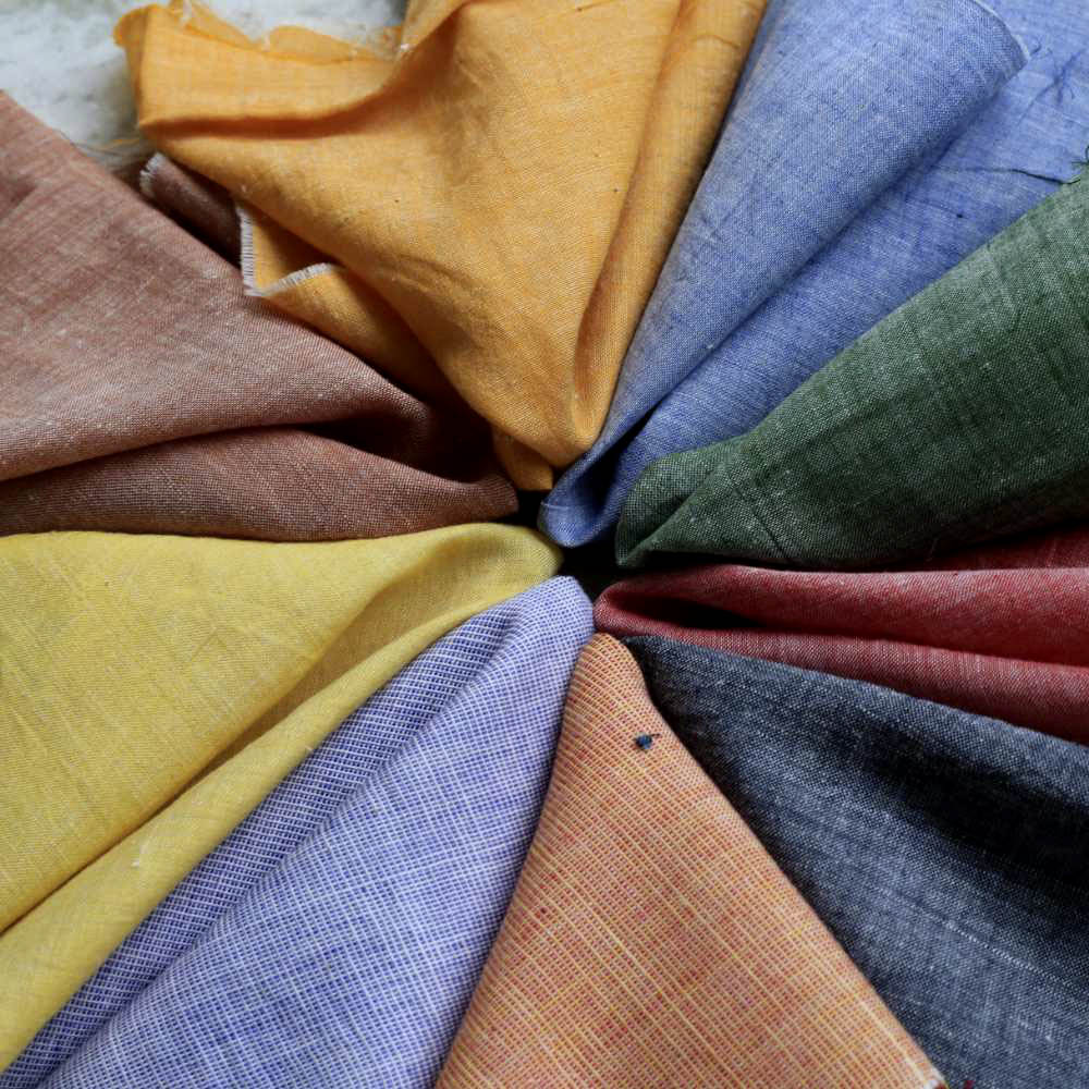 Assorted Chambray & Solids Dyed Khadi Cotton Design Swatches