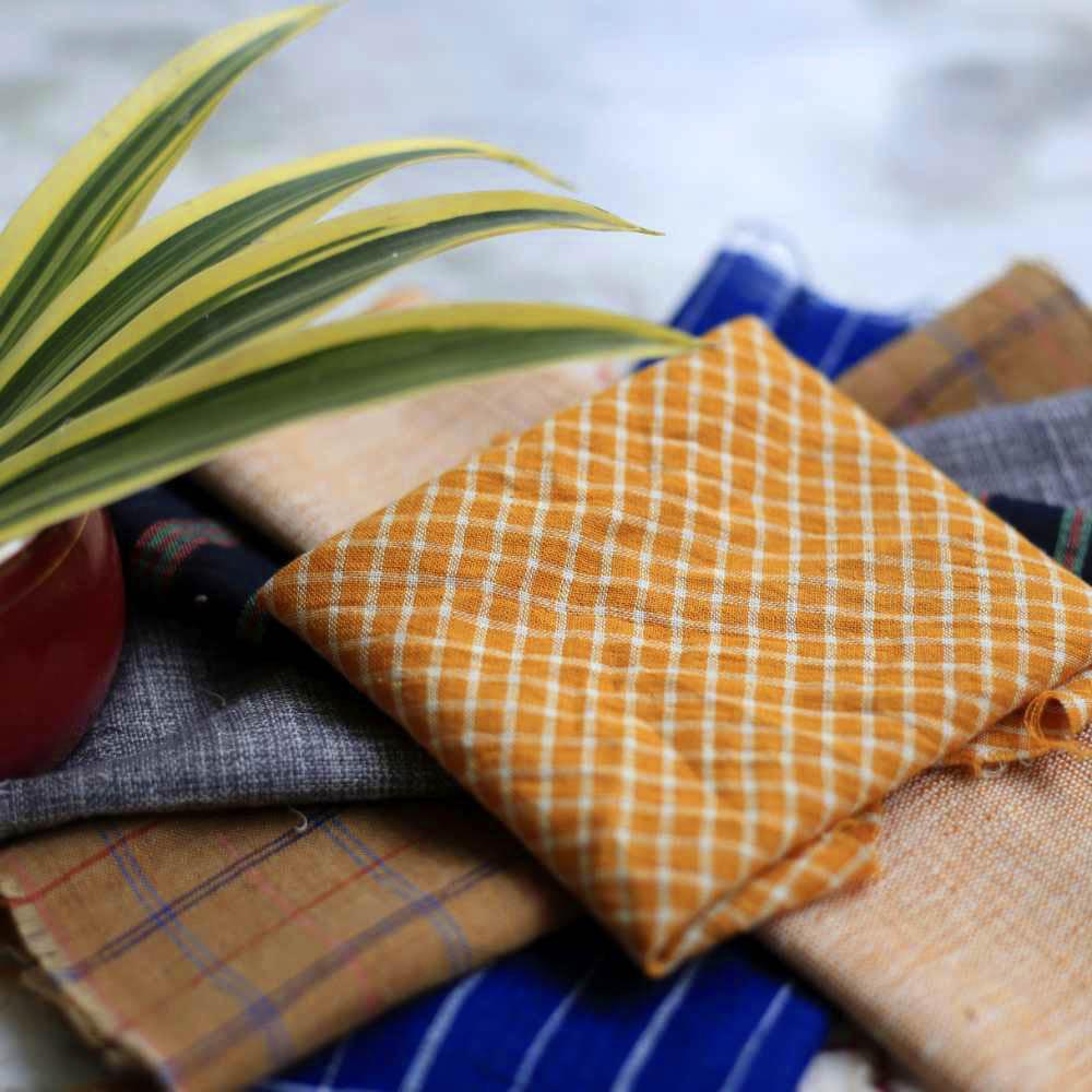 Assorted Stripes & Checks Dyed Khadi Cotton Design Swatches