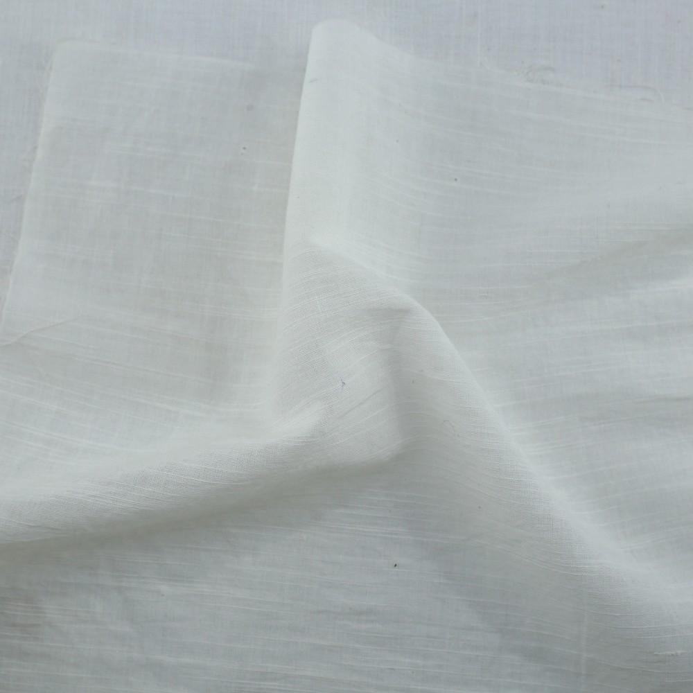 WHITE SLUB COTTON FABRIC   BLEACHED WHITE & DYEABLE