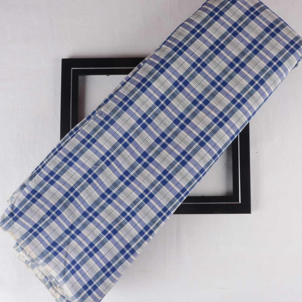 CHECK BLUE & WHITE PURE COTTON HANDWOVEN FABRIC