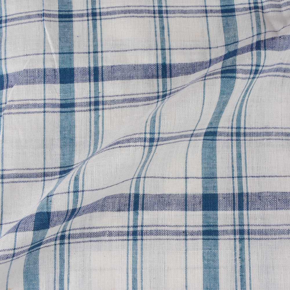 CHECK BLUE TEAL & WHITE KHADI FABRIC - HANDSPUN &  HANDWOVEN