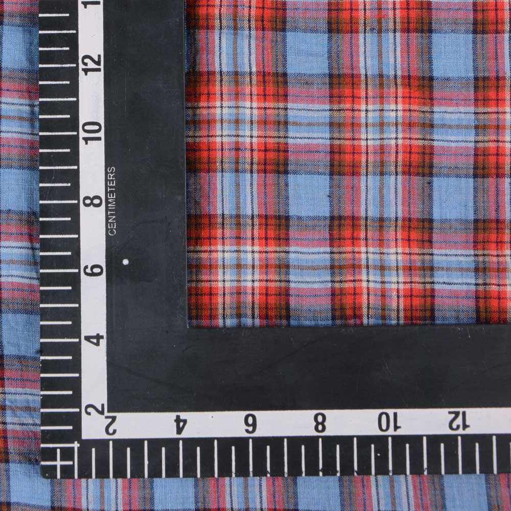 CHECK BLUE & RED PURE HANDWOVEN COTTON FABRIC