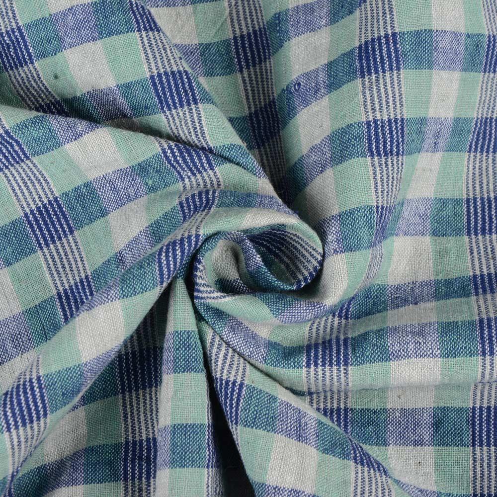CHECK BLUE GREEN KHADI FABRIC - HANDSPUN & HANDWOVEN