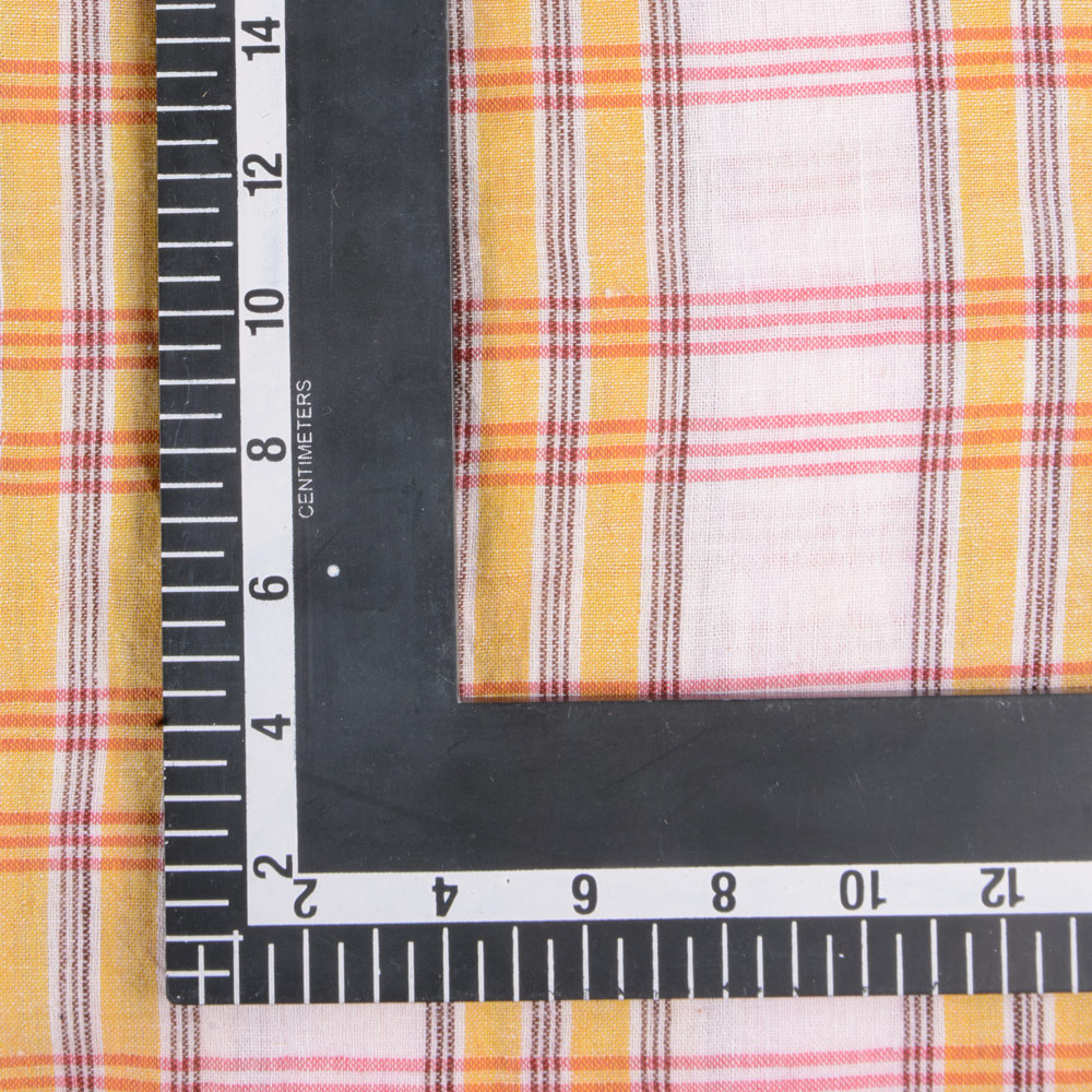 CHECK WHITE YELLOW & RED PURE COTTON HANDWOVEN FABRIC