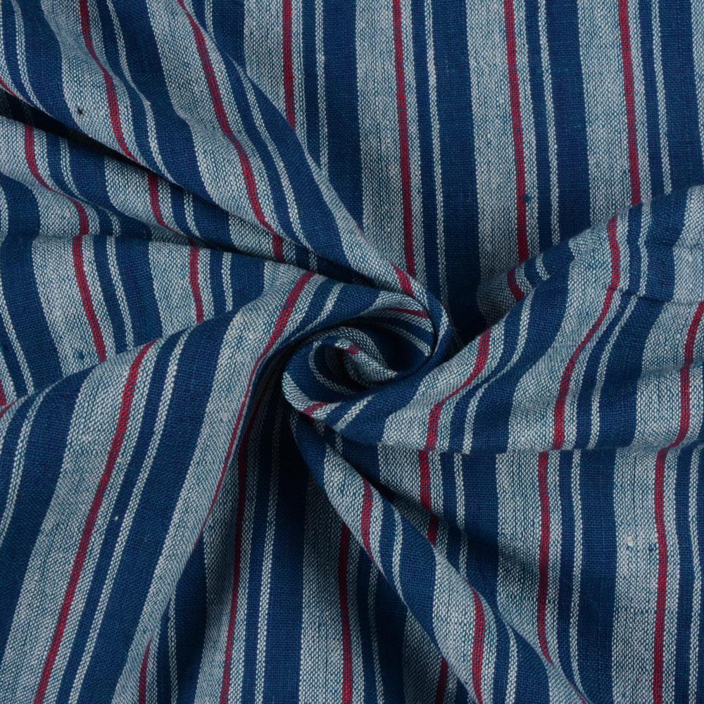 STRIPE BLUE & RED KHADI FABRIC - HANDSPUN & HANDWOVEN
