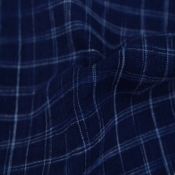 CHECK DARK BLUE PURE COTTON HANDWOVEN FABRIC