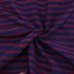 STRIPE BLUE & RED PURE KHADI FABRIC - HANDSPUN &  HANDWOVEN