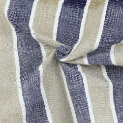 STRIPE NAVY BLUE & BEIGE PURE COTTON HANDWOVEN FABRIC