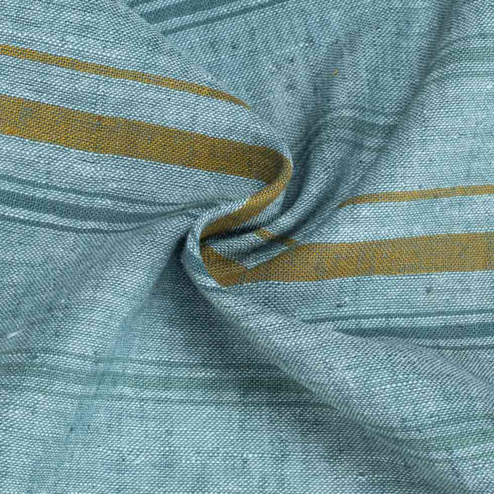 STRIPE TEAL PURE COTTON HANDWOVEN FABRIC