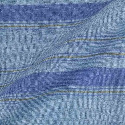 STRIPE BLUE PURE COTTON HANDWOVEN FABRIC