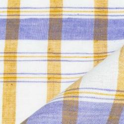 CHECK BLUE YELLOW & WHITE PURE COTTON HANDWOVEN FABRIC