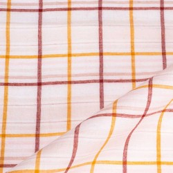 CHECK LIGHT PINK PURE COTTON HANDWOVEN FABRIC