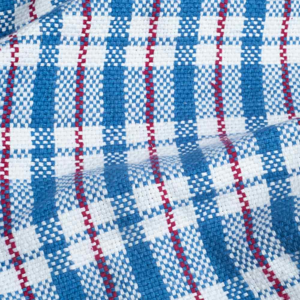 CHECK BLUE PURE KHADI FABRIC - HANDSPUN & HANDWOVEN