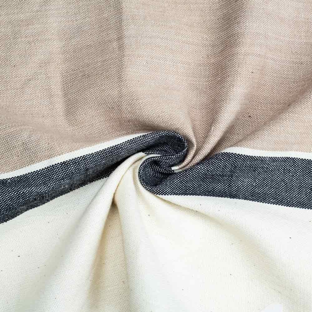 STRIPE WHITE & BEIGE PURE COTTON HANDWOVEN FABRIC
