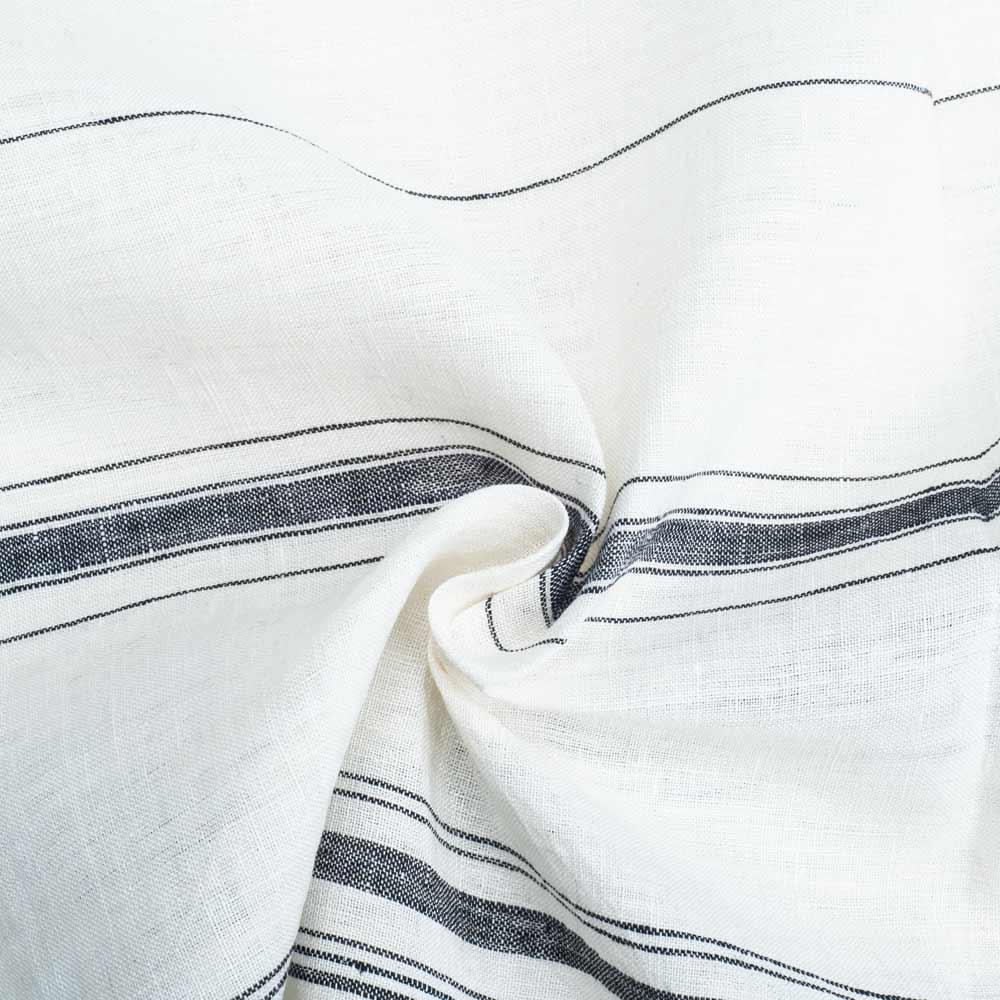 STRIPE WHITE PURE LINEN HANDWOVEN FABRIC