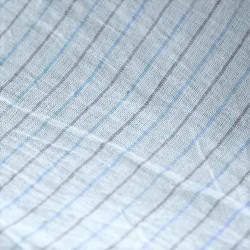 STRIPE BLUE & GREY KHADI COTTON HANDWOVEN FABRIC