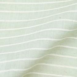 STRIPE LIGHT GREEN & WHITE PURE COTTON HANDWOVEN FABRIC