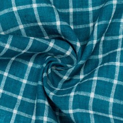 CHECK TEAL PURE COTTON HANDWOVEN FABRIC