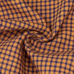 CHECK ORANGE & BLUE PURE COTTON HANDWOVEN FABRIC