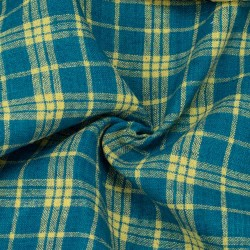 CHECK YELLOW & TEAL PURE COTTON HANDWOVEN FABRIC