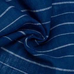 STRIPE BLUE & WHITE PURE COTTON HANDWOVEN FABRIC