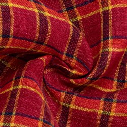 CHECK RED PURE LINEN HANDWOVEN FABRIC