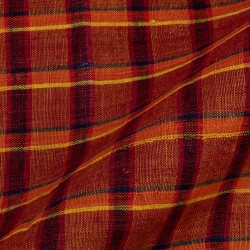 CHECK BROWN PURE LINEN HANDWOVEN FABRIC