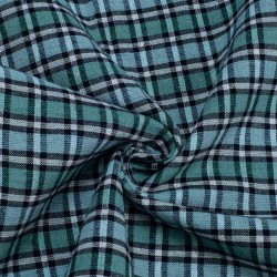 CHECK BLUE & TEAL PURE COTTON HANDWOVEN FABRIC