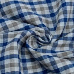 CHECK BLUE & GREY PURE COTTON HANDWOVEN FABRIC