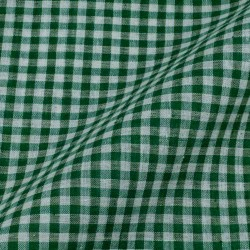 CHECK GREEN & WHITE PURE COTTON HANDWOVEN FABRIC