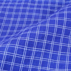 CHECK ROYAL BLUE PURE COTTON HANDWOVEN FABRIC