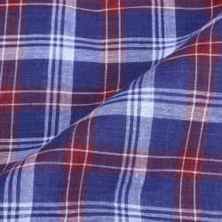CHECK BLUE & RED PURE COTTON HANDWOVEN FABRIC