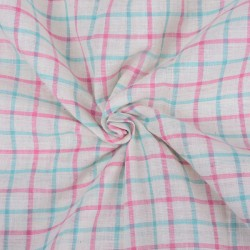 CHECK BLUE PINK & WHITE PURE COTTON HANDWOVEN FABRIC
