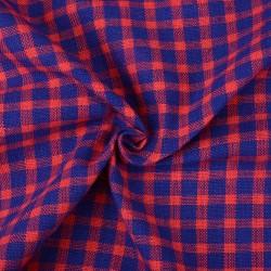 CHECK BLUE & RED PURE KHADI FABRIC - HANDSPUN & HANDWOVEN