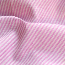 STRIPE BABY PINK & WHITE PURE COTTON HANDWOVEN FABRIC