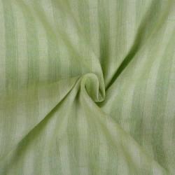 STRIPE LIGHT GREEN PURE COTTON HANDWOVEN FABRIC