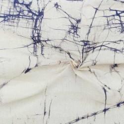 ABSTRACT WHITE BATIK COTTON SILK FABRIC - HAND PRINTED