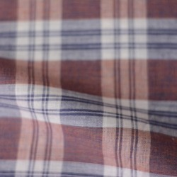 CHECK BROWN & BLUE PURE COTTON HANDWOVEN FABRIC