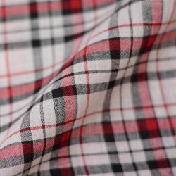 CHECK BLACK RED & WHITE PURE COTTON HANDWOVEN FABRIC