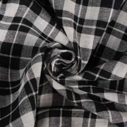 CHECK BLACK & WHITE PURE COTTON HANDWOVEN FABRIC
