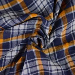 CHECK BLUE & ORANGE PURE COTTON HANDWOVEN FABRIC