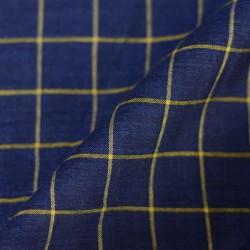 CHECK BLUE & YELLOW PURE COTTON HANDWOVEN FABRIC