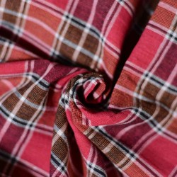 CHECK BROWN & RED PURE COTTON HANDWOVEN FABRIC