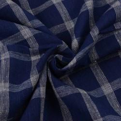 CHECK DARK BLUE & WHITE PURE COTTON HANDWOVEN FABRIC
