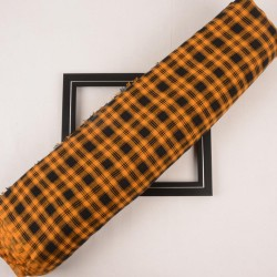 CHECK ORANGE & BLACK PURE COTTON HANDWOVEN FABRIC