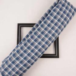 CHECK BLUE PURE COTTON HANDWOVEN FABRIC
