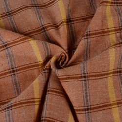 CHECK LIGHT BROWN PURE COTTON HANDWOVEN FABRIC