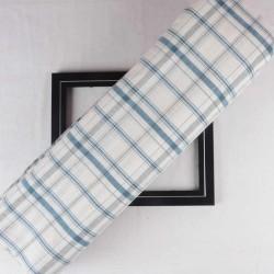 CHECK BLUE GREY & WHITE KHADI FABRIC - HANDSPUN &  HANDWOVEN