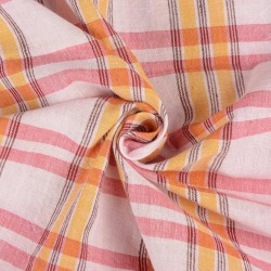CHECK PINK ORANGE & RED PURE HANDWOVEN COTTON FABRIC